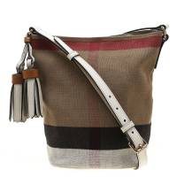 Burberry Brown/White Nova Check Canvas and Leather Mini Asby Tassel Bucket Crossbody Bag
