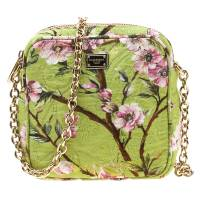 Dolce and Gabbana Lime Floral Print Fabric Square Miss Glam Crossbody Bag