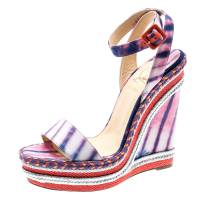 Christian Louboutin Multicolor Tie-Dye Fabric Duplice Woven Trim Wedge Ankle Strap Sandals Size 39