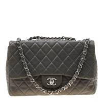 Chanel Grey Quilted Leather Jumbo Classic Single Flap Bag
