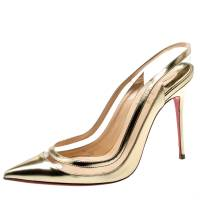 Christian Louboutin Metallic Gold Leather And PVC Paulina Pointed Toe Slingback Sandals Size 38