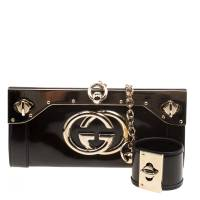 Gucci Dark Green Shimmer Patent Leather Starlight Clutch