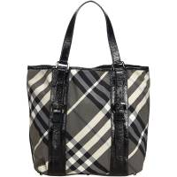 Burberry Black Nylon Beat Check Victoria Tote Bag