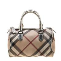 Burberry Silver Nova Check PVC and Leather Chester Boston Bag