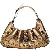Burberry Metallic Gold Leather Warrior Hobo Bag