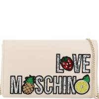 Love Moschino White Faux Leather Embroidered WOC Crossbody Bag