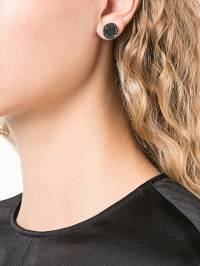 Guidi - rounded black diamond earrings 69SILVER905WITHBLACK