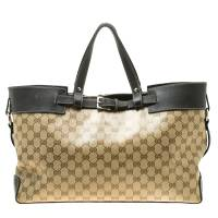 Gucci Beige/Dark Brown GG Crystal Canvas and Leather Belt Tote