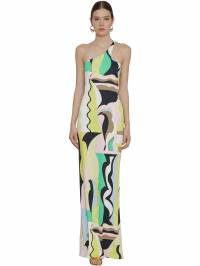 Printed One Shoulder Jersey Knit Dress Emilio Pucci