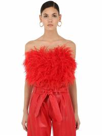 Feathered Strapless Crop Top Attico