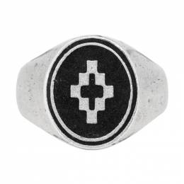 Marcelo Burlon County Of Milan Silver and Black Cross Ring 192539M14700101GB