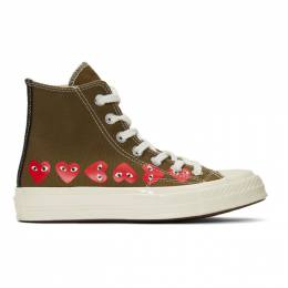 Comme Des Garcons Play Khaki Converse Edition Multiple Hearts Chuck 70 High Sneakers 192246M23600304GB