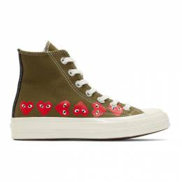 Comme Des Garcons Play Khaki Converse Edition Multiple Heart Chuck 70 High Sneakers 192246F12700301GB