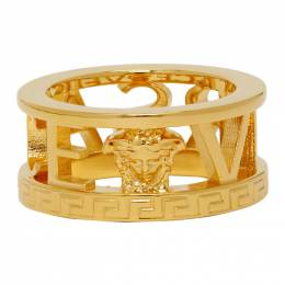 Versace Gold Cut-Out Logo Ring 192404M14700802GB