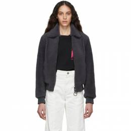 Off-White Grey Shearling Bomber Jacket 192607F06200103GB