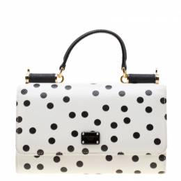 Dolce&Gabbana White/Black Polka Dots Leather Miss Sicily Von Wallet on Chain 198837