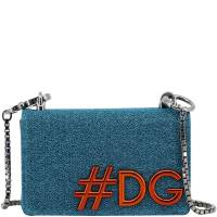 Dolce & Gabbana Blue Synthetic Fabric DG Girls Chain Evening Bag