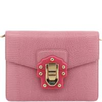 Dolce & Gabbana Pink Embossed Leather Lucia Crossbody Bag
