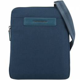Piquadro Blue Fabric and Leather Messenger Bag 194625