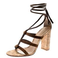 Gianvito Rossi Brown Leather And Suede Block Cork Heel Strappy Sandals Size 40.5 183876