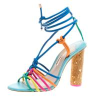 Sophia Webster Multicolor Leather Cord Copacabana Cork Heel Ankle Wrap Sandals Size 37.5