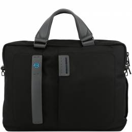 Piquadro Black Fabric and Leather Briefcase 226026