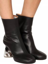 80mm Crusched Heel Leather Boots Maison Margiela