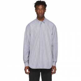Juun.J Navy and White Pinstripe Shirt 192343M19200102GB