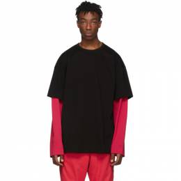 Juun.J SSENSE Exclusive Black and Red Layered Long Sleeve T-Shirt 192343M21300501GB