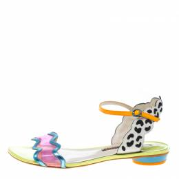 Sophia Webster Multicolored Leather and PVC Patti Flat Sandals Size 40.5 154342