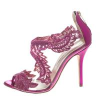 Oscar De La Renta Metallic Pink Leather and PVC Ambria Embellished Peep Toe Sandals Size 39