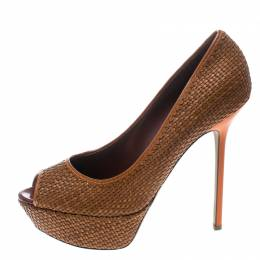 Sergio Rossi Brown Woven Leather Peep Toe Platform Pumps Size 41 157448