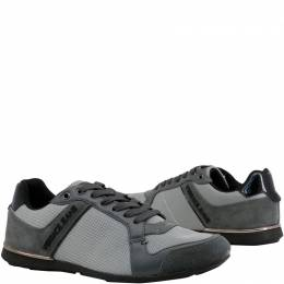 Versace Jeans Grey Fabric and Suede Lace Up Sneakers Size 39 169405