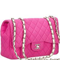 Chanel Pink Quilted Cotton Jumbo Classic Flap Bag