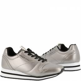 Versace Jeans Silver Faux Leather Lace Up Sneakers Size 38 154062
