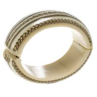 Chanel CC Crystal Chain Cream Resin Wide Oval Cuff Bracelet