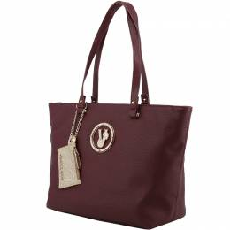 Versace Jeans Dark Red Faux Pebbled Leather Shopper Tote 153630