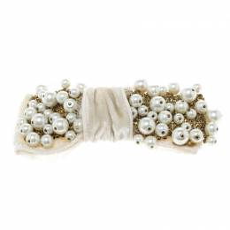 Dolce & Gabbana White Faux Pearl Embellished Cream Bow Brooch 151732