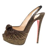 Christian Louboutin Black and Gold Glitter Fabric Jenny Platform Slingback Sandals Size 38.5