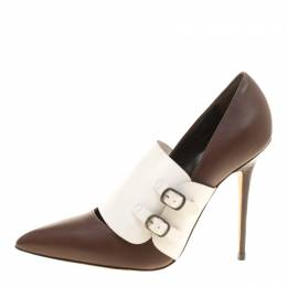 Manolo Blahnik Brown/White Leather Encajada Buckle Accented Pointed Toe Pumps Size 35 146718