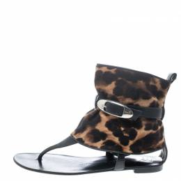 Giuseppe Zanotti Design Black Leather and Leopard Print Hair On Buckle Detail Flat Sandals Size 37 149483