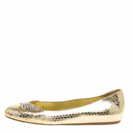 Le Silla Metallic Gold Snake Embossed Leather Butterfly Crystal Embellished Motif Ballet Flats Size 36 146764