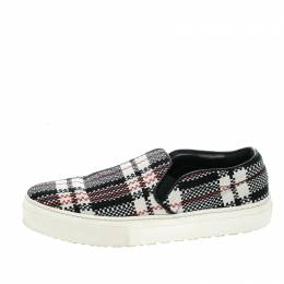 Celine Multicolor Checkered Print Canvas Skate Slip On Sneakers Size 37 143692
