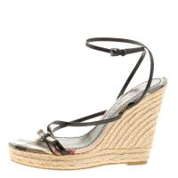 Burberry Black Leather Cross Strap Espadrille Wedge Sandals Size 39