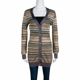 M Missoni Multicolor Patterned Knit Contrast Ribbed Trim Cardigan M 139783