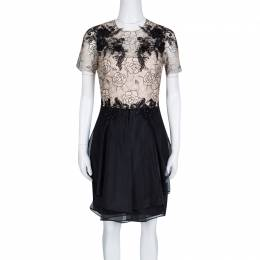 Marchesa Notte Beige and Black Floral Lace and Silk Organza Mini Dress M 133312