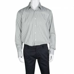 Boss By Hugo Boss Olive Green and White Striped Cotton Regular Fit Shirt XXL 133643