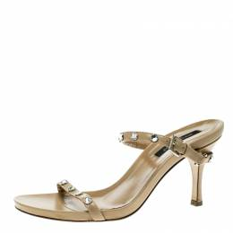 Sergio Rossi Beige Leather Crystal Studded Ankle Strap Sandals Size 36 135526