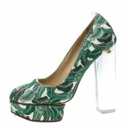 Charlotte Olympia Green Leaves Printed Canvas and PVC Mabel Platform Pumps Size 39 138377