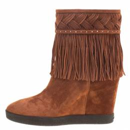 Le Silla Brown Suede Concealed Fringed Wedge Boots Size 38 127888